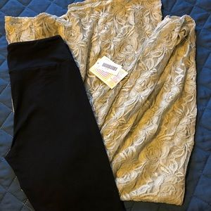 Lularoe XS Grey Lace Joy & Black OS Leggings